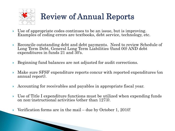 Review of Annual Reports