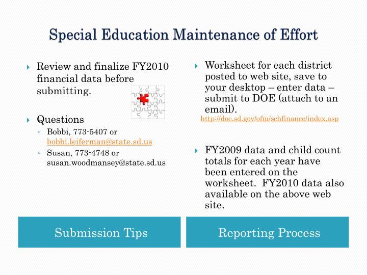 Special Education Maintenance of Effort