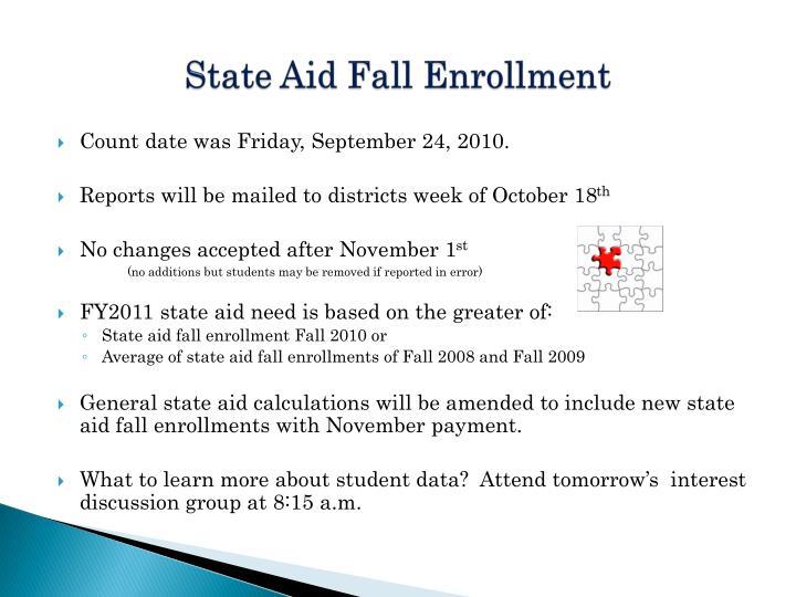 State aid fall enrollment