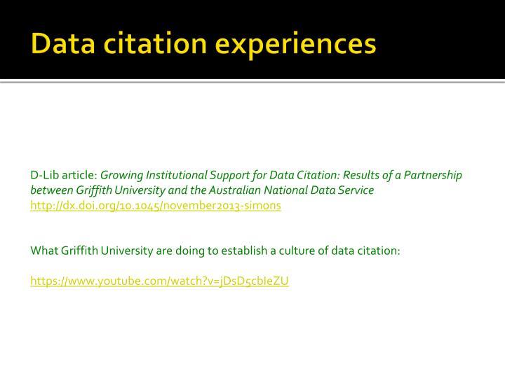 Data citation experiences