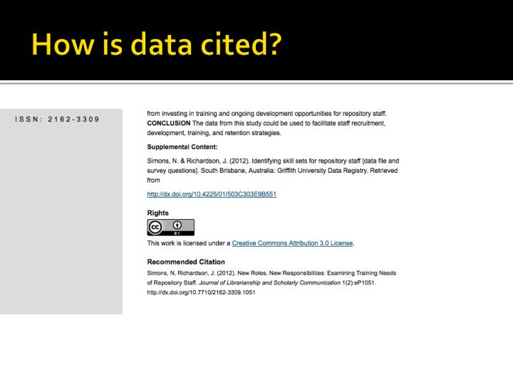How is data cited?