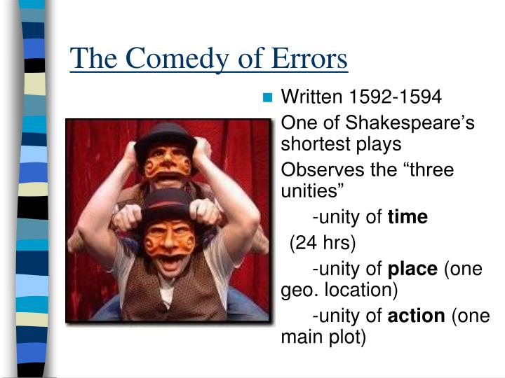 essays on comedy of errors The comedy of errors tells the story of two sets of identical twins that were accidentally separated at birth antipholus of syracuse and his servant.