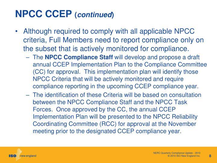 NPCC CCEP