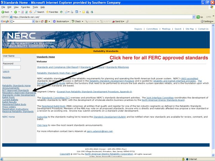 Click here for all FERC approved standards