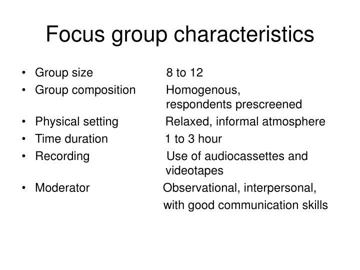 Focus group characteristics