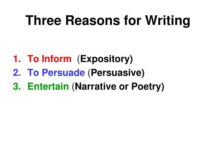 Three reasons for writing