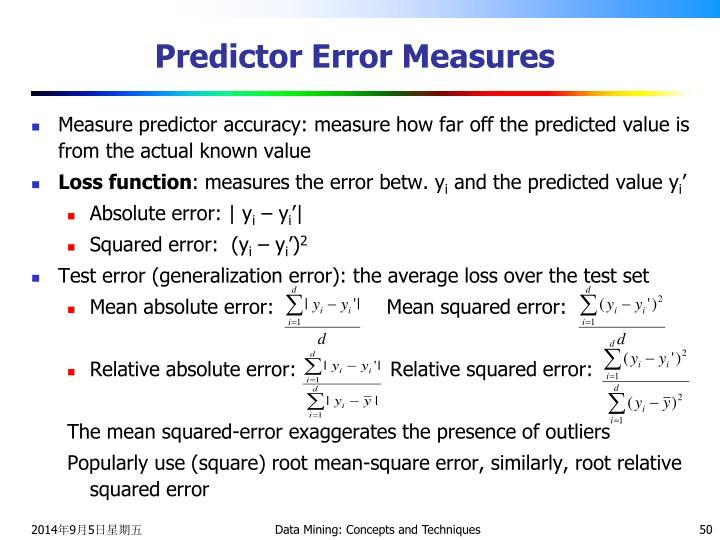Predictor Error Measures