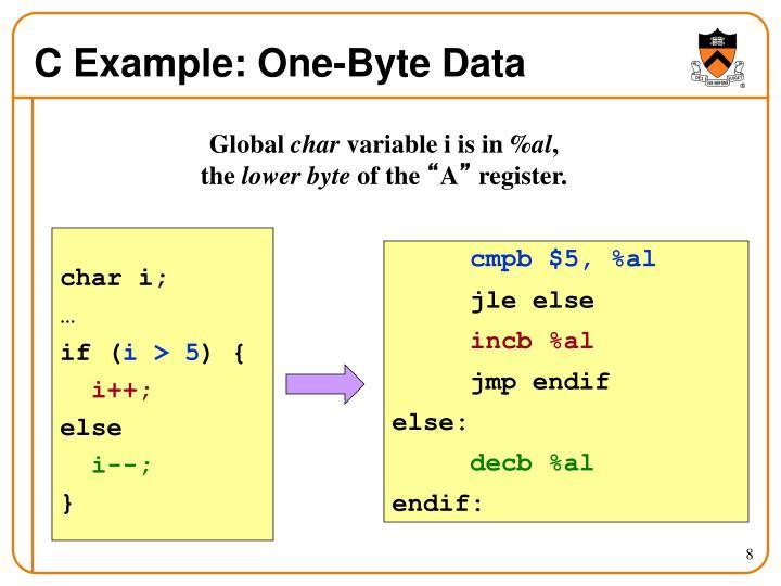 C Example: One-Byte Data