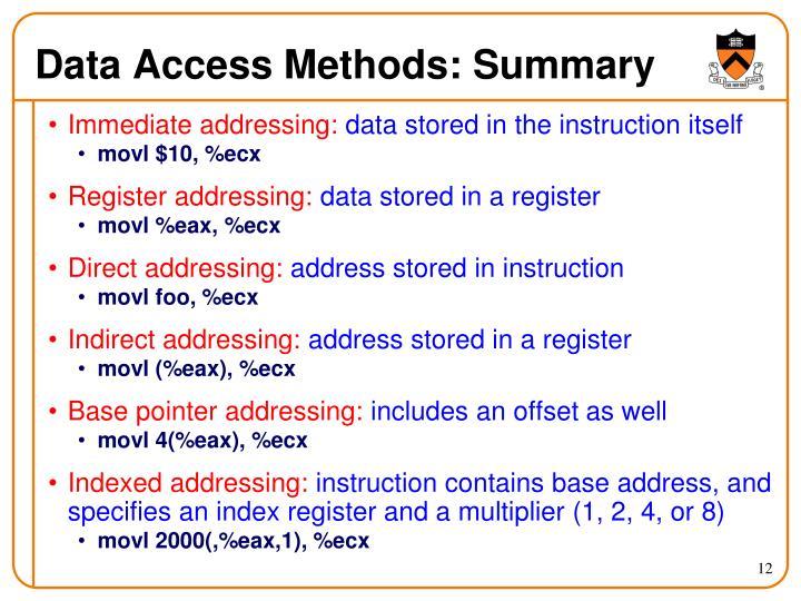 Data Access Methods: Summary