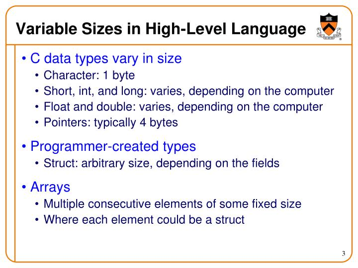 Variable sizes in high level language