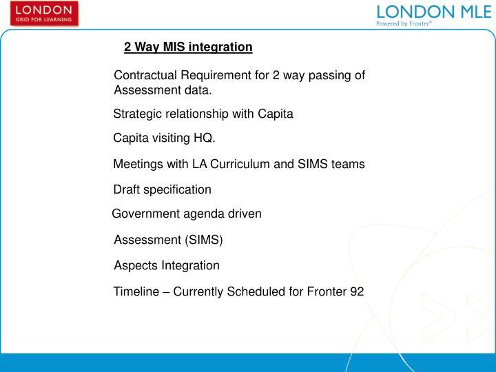 2 Way MIS integration