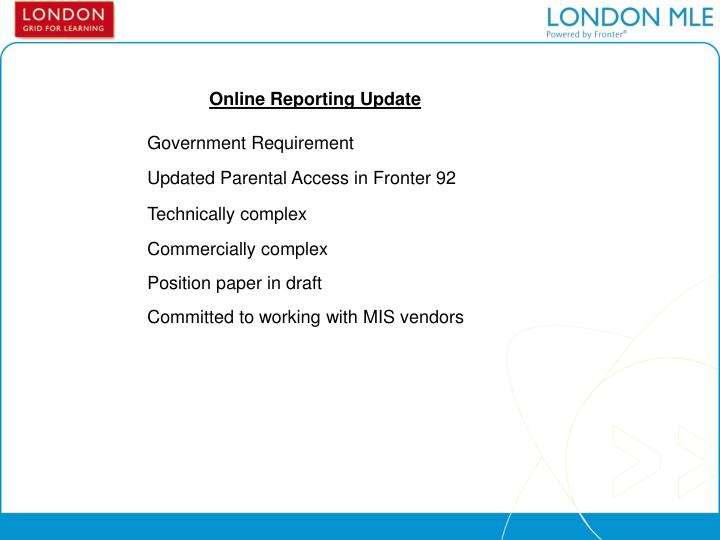 Online Reporting Update