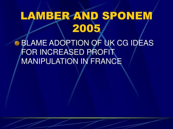 LAMBER AND SPONEM 2005