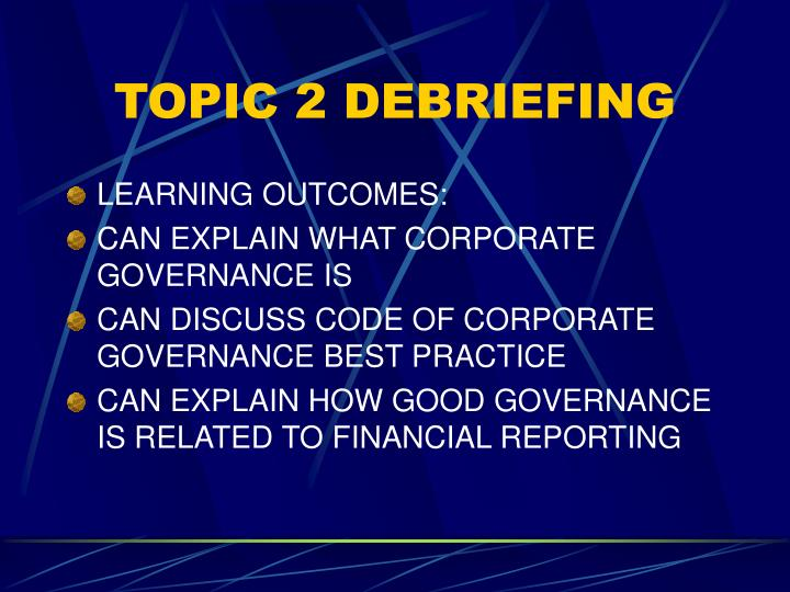 Topic 2 debriefing