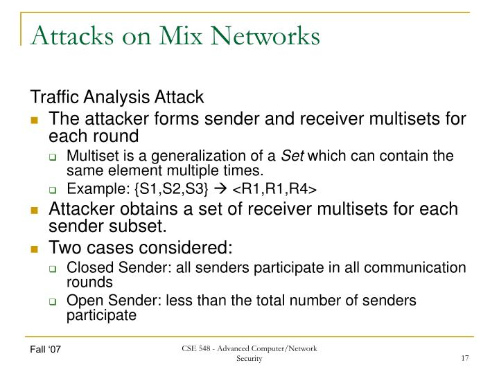 Attacks on Mix Networks