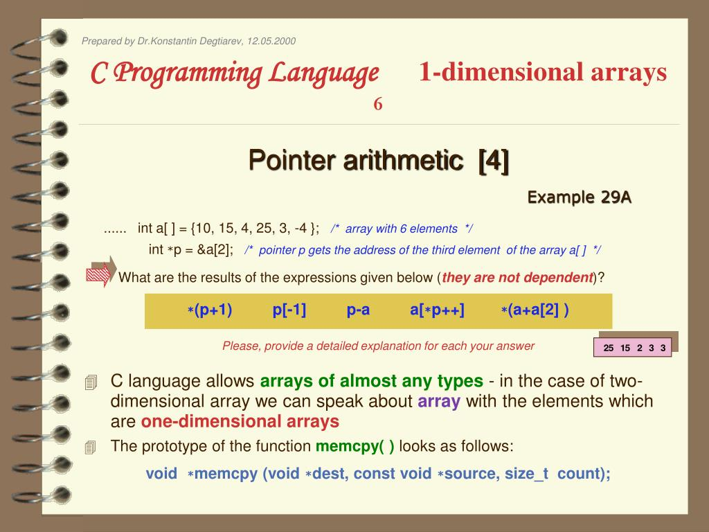 PPT - C Programming Language 1-dimensional arrays 1 PowerPoint