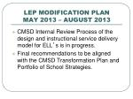 lep modification plan may 2013 august 2013