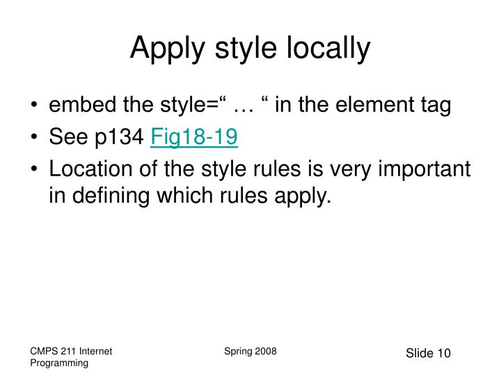 Apply style locally