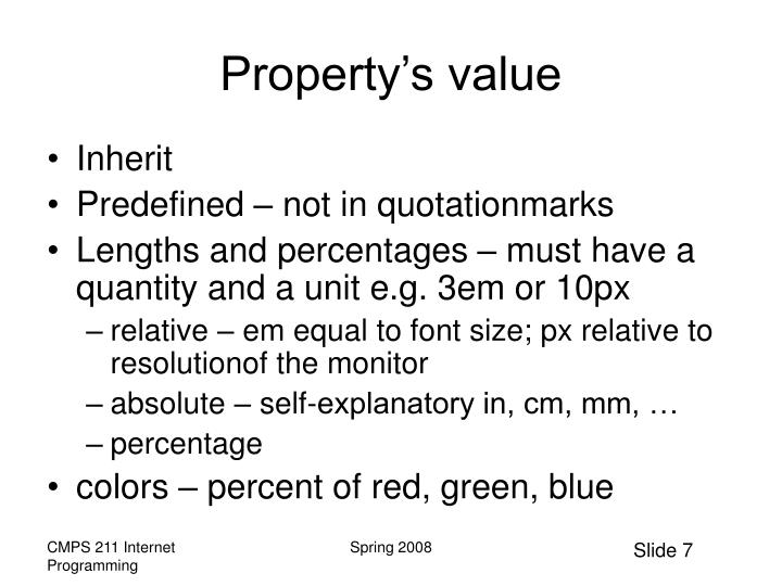 Property's value
