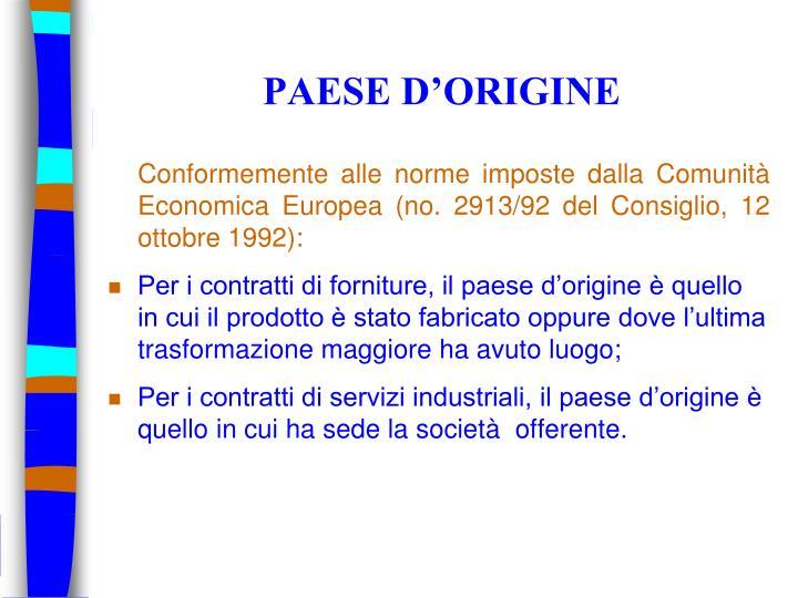 PAESE D'ORIGINE