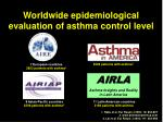 worldwide epidemiological evaluation of asthma control level