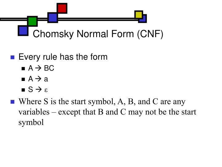 Chomsky Normal Form (CNF)