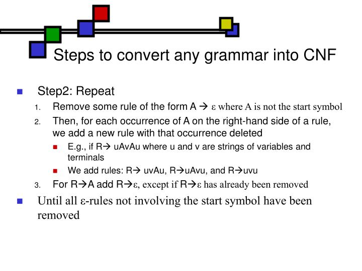 Steps to convert any grammar into CNF