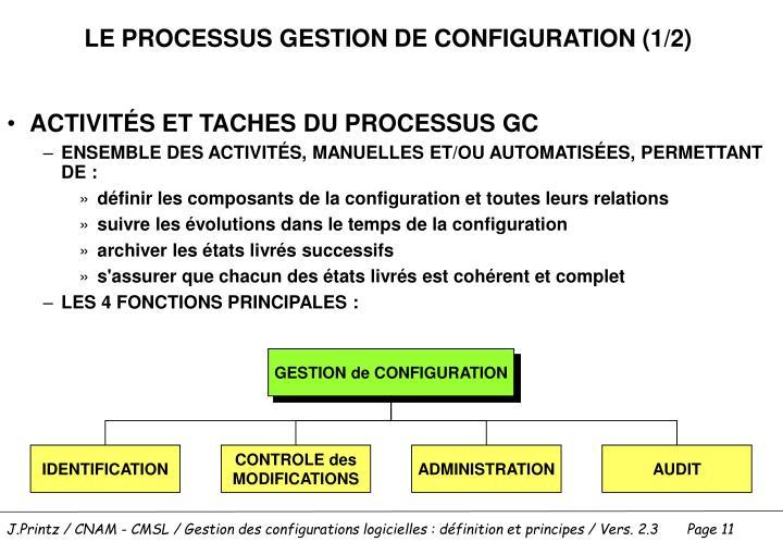 LE PROCESSUS GESTION DE CONFIGURATION (1/2)