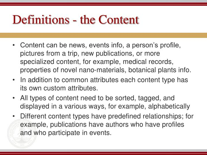 Definitions - the Content