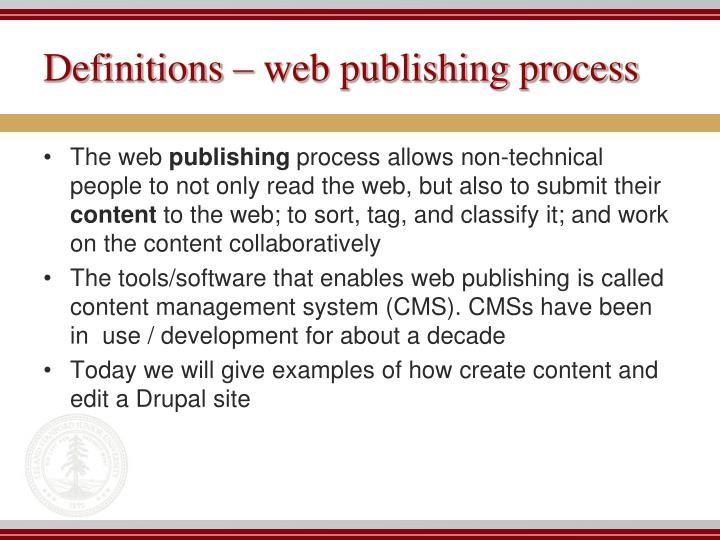 Definitions web publishing process