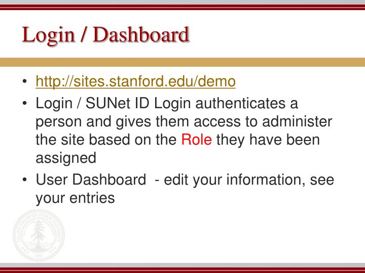 Login / Dashboard