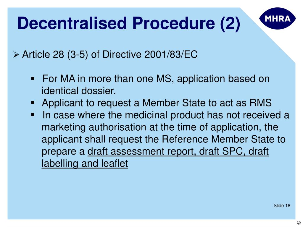 PPT - European Regulatory Procedures: Centralised vs DCP