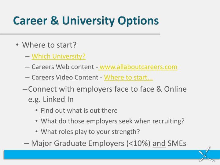 Career & University Options