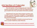 arts section of calendar