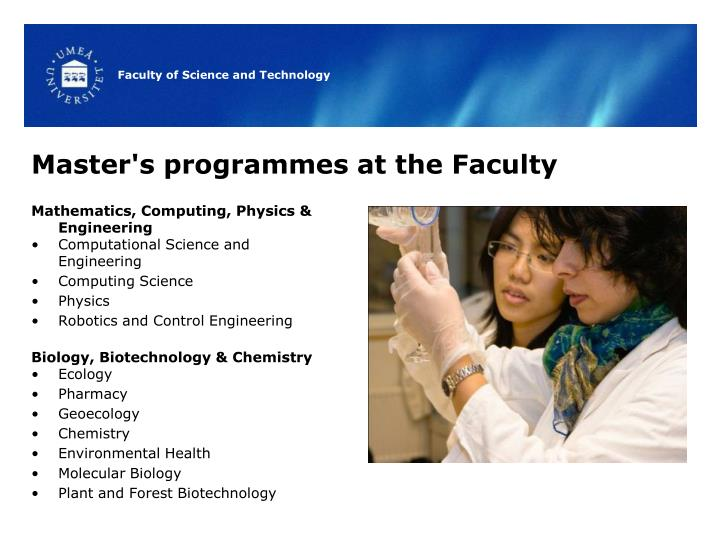 Master's programmes at the Faculty