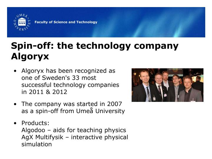 Spin-off: the technology company