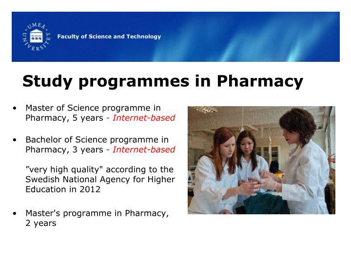 Study programmes in Pharmacy