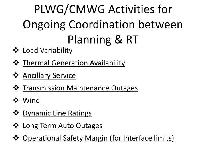 PLWG/CMWG Activities for Ongoing Coordination between Planning & RT