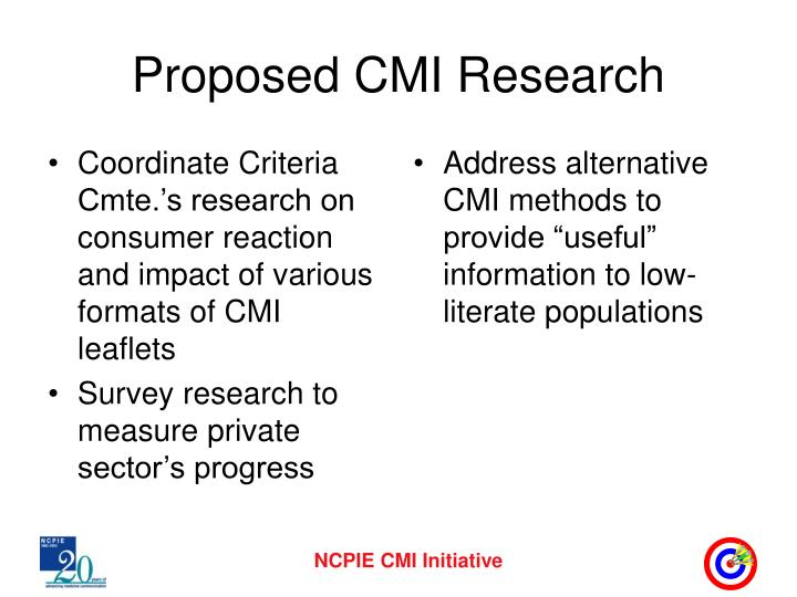 Coordinate Criteria Cmte.'s research on consumer reaction and impact of various formats of CMI leaflets