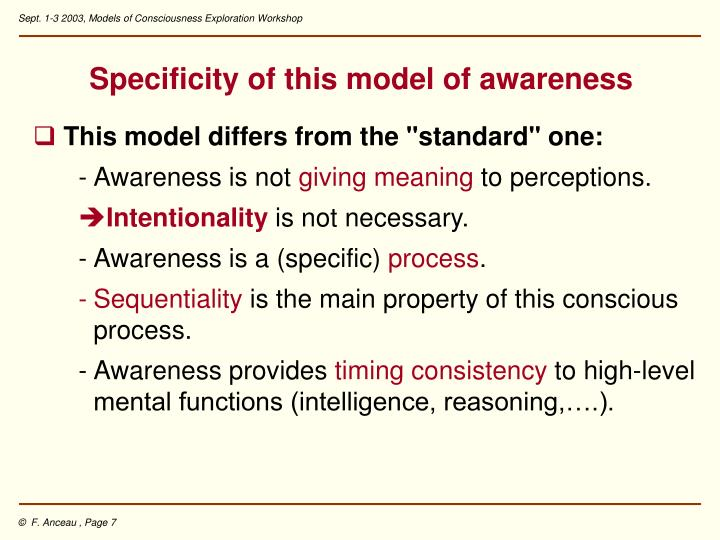 Specificity of this model of awareness