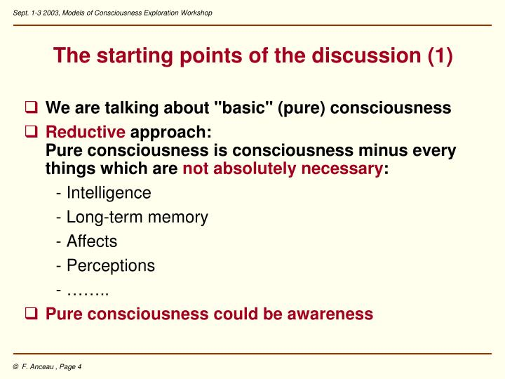 The starting points of the discussion (1)