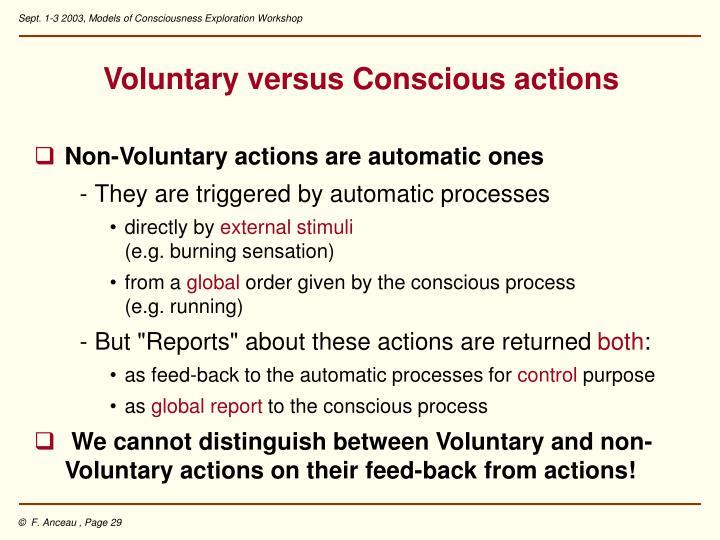 Voluntary versus Conscious actions