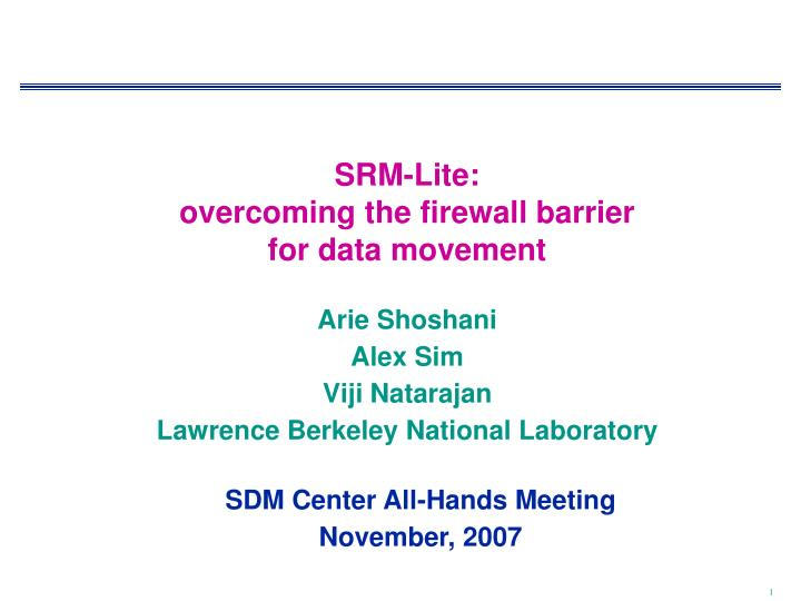 srm lite overcoming the firewall barrier for data movement n.