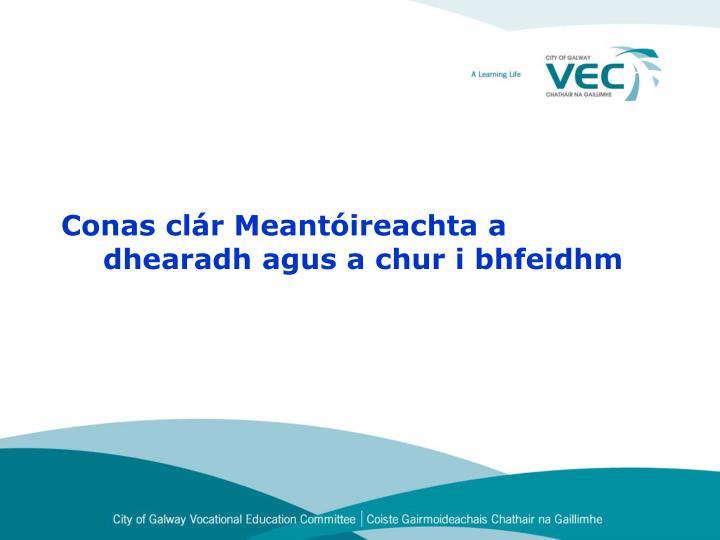 Conas clár Meantóireachta a   dhearadh agus a chur i bhfeidhm