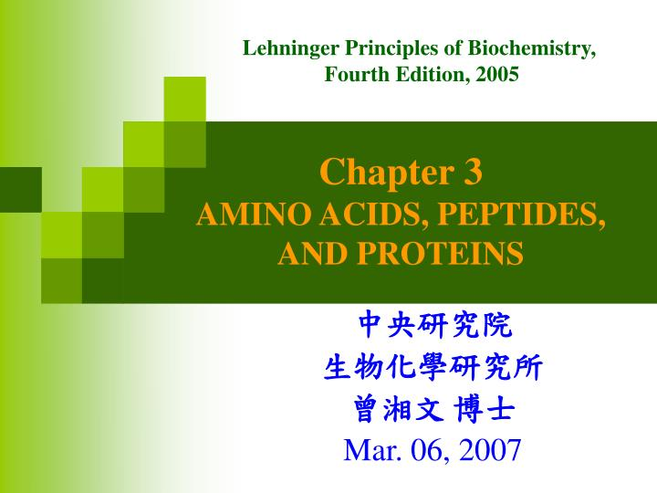 chapter 3 amino acids peptides and proteins n.