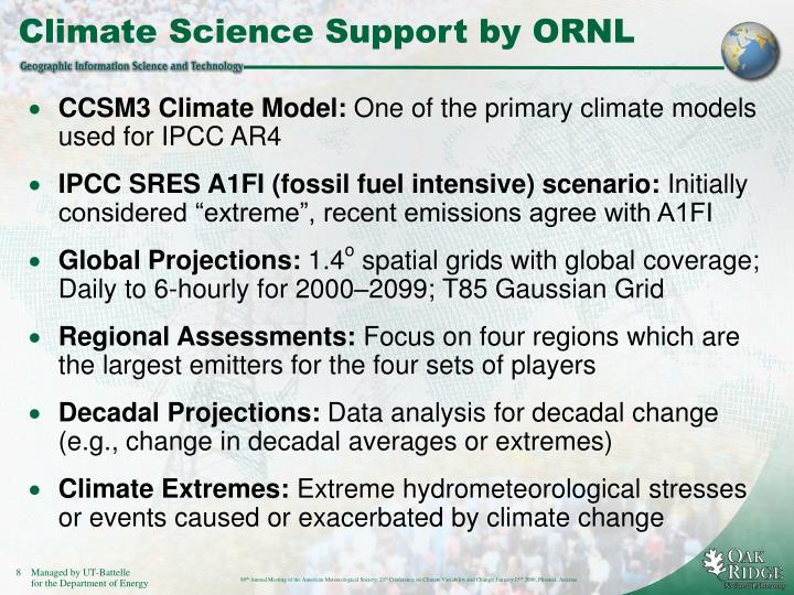 Climate Science Support by ORNL
