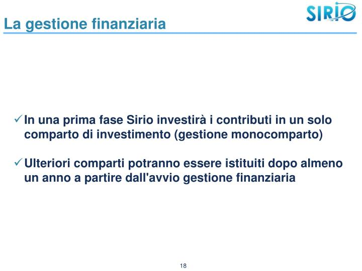 La gestione finanziaria