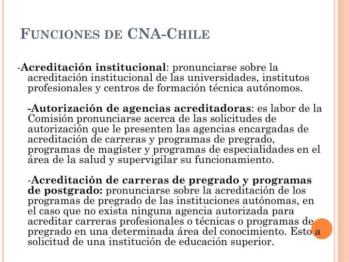 Funciones de CNA-Chile