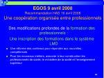 egos 9 avril 2008 recommandation has 16 avril 2008 une coop ration organis e entre professionnels