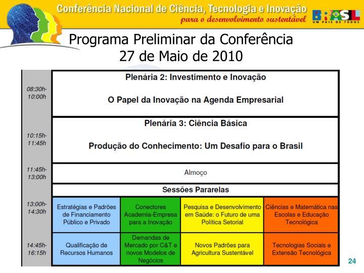 Programa Preliminar da Conferência